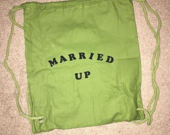 Married Up Drawstring Bag