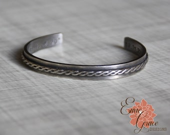 Weave Cuff Bracelet, Thick Sterling Silver Cuff Bracelet, Personalized Cuff, Custom Message, Hand Stamped