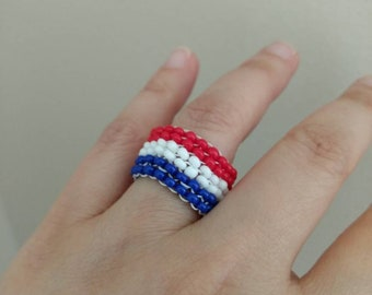 Soccer Jewelry - Beaded Ring Made with Red, White and Blue Seed Beads and Thread - Handmade Peyote Ring -  Affordable Beaded Ring - Sports