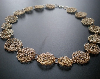 14k gold filled crochet choker, statement crochet gold filled wire