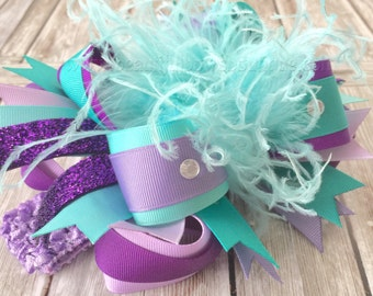 Light Purple Teal and Aqua Over the Top Hair Bow,Purple and Aqua Blue Over the Top Headband,Aqua and Lilac Birthday,Purple and Turquoise Bow