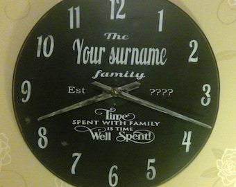 personalised large wooden chalkboard style wall clock