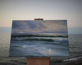 Sunset at the Beach Art, Original Nautical Ocean Oil Painting on Canvas As The Ember Faded