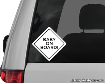Baby On Board White Vinyl Car Decal, New Parent Gift