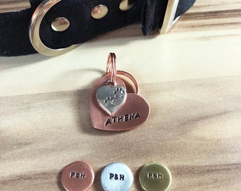 Heart Dog ID Tag, Hand Stamped Tag, Hand Cut Copper, Brass, Aluminium