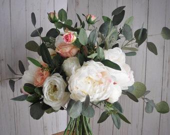 Eucalyptus Bouquet, Wedding Bouquet, Silk Flower Bouquet, Eucalyptus Wedding, Silver Dollar Eucalyptus, Loose Bouquet