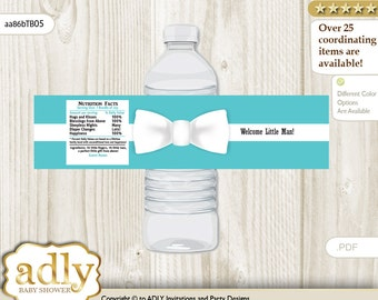 Boy Bow tie Baby Shower Water Bottle Wrappers, water Label, - it's a Boy Blue, Aqua - aa86bTB5