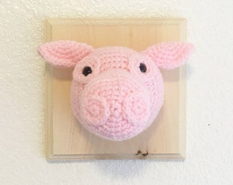 Pink Pig- Crochet Taxidermy Pig