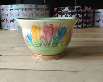 Vintage art deco Clarice Cliff Newport Pottery Spring Crocus pattern sugar bowl