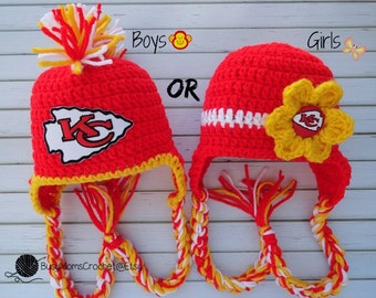 Handmade baby crochet Kansas City Chiefs inspired HAT ONLY, boy or girl style available, football hat, handmade, newborn to child