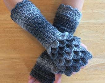 Fingerless Gloves, Gloves Fingerless, Crochet Gloves, Dragon Scale Gloves, Arm Warmers, Knit Gloves, Wrist Warmers, Dragonscale Gloves,