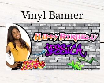 Happy Birthday Graffiti Banner ~ 90's Birthday Personalized Party Banners - Photo Custom Vinyl Banner, Custom Birthday Banner
