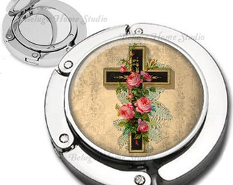 Religious Cross with Roses Foldable Purse Hook Bag Hanger With Double Sided Compact Mirror