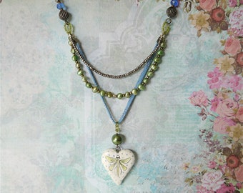 Ceramic Valentine Heart Necklace, Painted Lime Green and Blue Dragonfly, Fresh Water Pearl and Mixed Beads, Blue Liberty of London Ribbon