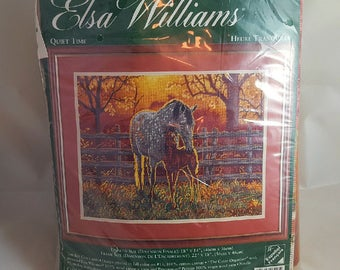 Vtg Elsa Williams NIP Tapestry Kit Horses Quiet Time