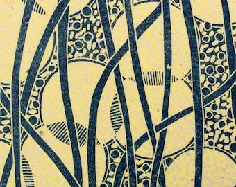 linocut - LUMINARIES // 8x10 art print // printmaking // block print // blue, yellow // original art // luminary // lantern // illumination