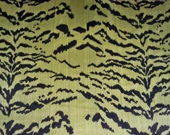 LEE JOFA TIGER Tigre Silk Velvet Fabric 3 Yards Green Black