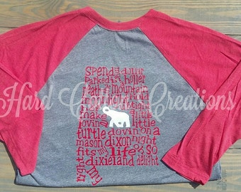 Front and Back design...Next Level Raglan Alabama football dixieland delight shirt