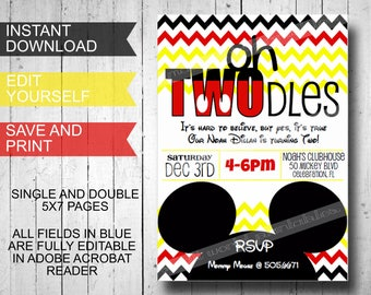 Oh Twodles Invitations Mickey Mouse Inspired Printable Template Instant Download Editable Boys Birthday Party- FREE Thank You Cards