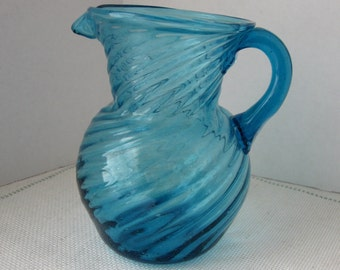 Vintage Turquoise Swirled Glass Pitcher