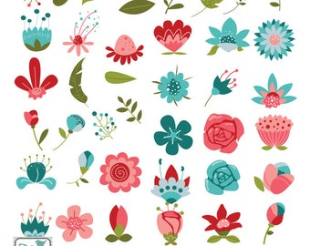 Hand Drawn Flowers Clip Art - Mother's Day Clipart, Vector Flowers, Wedding Invitations, Doodle Flowers Vector Clip art - INSTANT DOWNLOAD