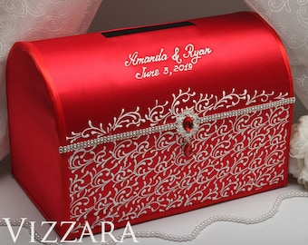 Wedding card boxes Red and white wedding Wedding card box holder Red and silver wedding Personalised wedding card box Red wedding colors