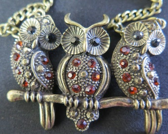 Vintage Trio of Owls on a Branch Necklace With Mandarin Orange Crystal Rhinestones, Silver Tone Alloy