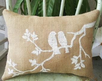 Burlap bird pillow,shabby chic,cottage farmhouse