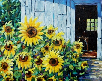 Sunflowers and Sunshine Original Painting by Prankearts