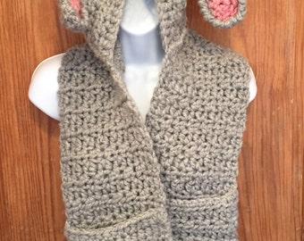 Bunny hooded scarf