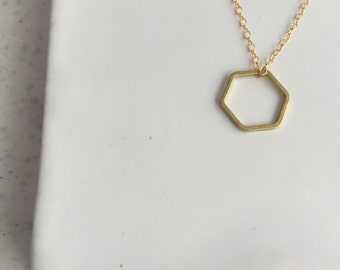 Gold Hexagon Necklace - Gold Necklace - Geometric Necklace - Layering Necklace - Minimalist Necklace - Dainty Necklace - Geometric Jewelry