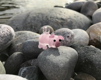 Pink glass pig pendant