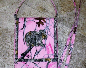 Pink Camo with Little Camo Bear and Camo Cross Body Mini Purse