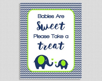 Babies Are Sweet Please Take A Treat Shower Sign, Navy & Lime Elephant Baby Favor Sign, Chevron, Baby Boy, INSTANT PRINTABLE