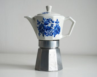 Vintage moka pot, 60s Italian ALPU Porcelain stovetop espresso maker, decorated with blue roses, large size