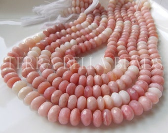 "7"" strand shaded PINK PERUVIAN OPAL faceted large rondelle gem stone beads 9mm"