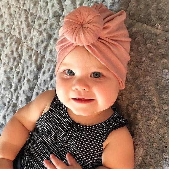Baby Turban Hat In Blush Pink Turban Bun Hat Turban Top Knot