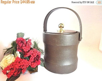 Ice Bucket Brigade Barware by Morgan Vintage 1960's Brown Leatherette Gold Knob Retro Mad Men Home Bar Accessory Gift for Him