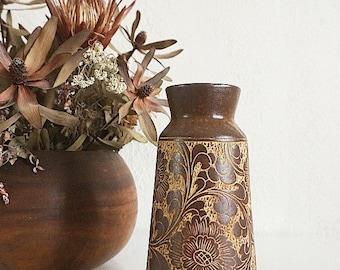 Vintage Brown Floral Vase