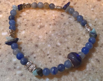 Lapis Luzuli and Agate anklet