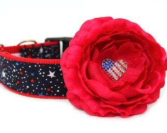 Patriotic Dog Collar Flower Add-On for Your Custom Dog Collar 4th of July Dog Flower