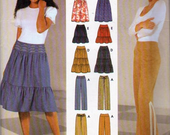 Simplicity 5752, Misses Tiered Full Gathered Skirts in 4 Styles and Pants  with Side Leg Slits to Knee or Not,Misses Sizes 4,6,8 and 10