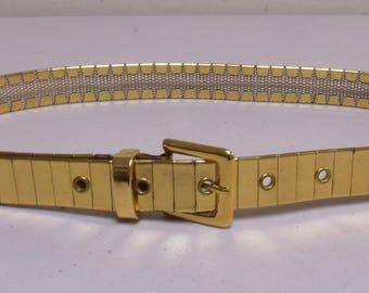 VINTAGE Hippie Disco 1970s  Goldtone Brass Band Waist Belt Size M