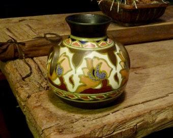 Gouda Earthenware Small Vase- Vintage 1920-30's- Flat handles  Floral Woodsy Tones