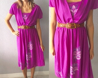 1970's Floral Boho Hippie Flutter Sleeved Purple Hawaiian Print Polyester Midi Dress