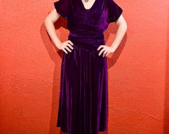 1930s Purple Silk Velvet Dress with Wrap Belt
