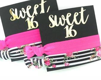 Kate Spade party - theme - Sweet 16, Hair Tie favors, gift bag , elastic hair ties, sweet 16 , birthday ,