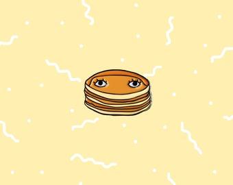 "Pancakes with Eyes 1"" Enamel Pin - Breakfast Club Buttermilk Pancakes Brunch Food Pin"
