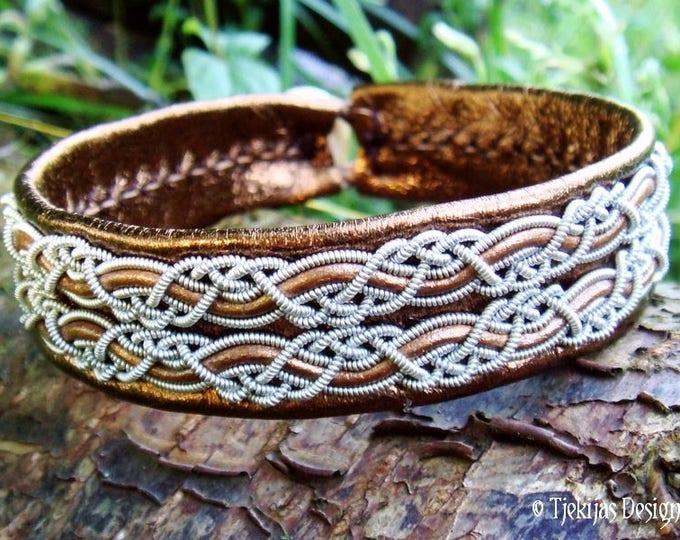 Sami Viking Bracelet Cuff for Men and Women MUNINN Norse Bracelet in Bronze Lambskin with Pewter Braids - Handcrafted Scandinavian Folklore