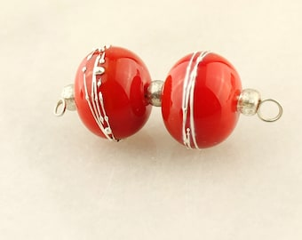 Lampwork Glass Bead Set  Earring Pair, Red and Silver